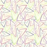 Nahtloses Vektormuster, weißer chaotischer Hintergrund mit bunten asymetrischen Herzen Stockfotografie