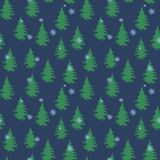Nahtloses Vektorwintermuster mit Bäumen und Schneeflocken lizenzfreie abbildung