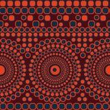 Nahtloses Vektorzusammenfassungs-Mosaikmuster mit den Kreisen und Quadraten, die Streifen und Mandalen bilden vektor abbildung
