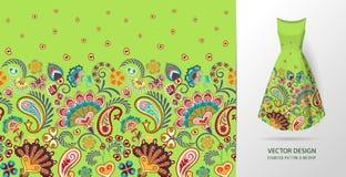 Nahtloses vertikales Fantasieblumenmuster Blumenhintergrund des Handabgehobenen betrages auf Kleidermodell Vektor Rote Orange auf Lizenzfreies Stockfoto