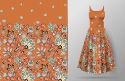 Nahtloses vertikales Fantasieblumenmuster Blumenhintergrund des Handabgehobenen betrages auf Kleidermodell Vektor Traditionelles  vektor abbildung