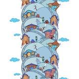 Nahtloses vertikales Muster mit Karikaturhäusern Stockbild