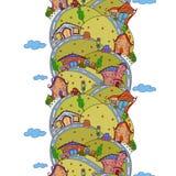 Nahtloses vertikales Muster mit Karikaturhäusern Stockfotografie