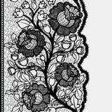 Nahtloses vertikales Spitzeband mit ungewöhnlichem Blumenmuster Stockbilder