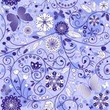 Nahtloses violett-blaues mit Blumenmuster Stockbilder