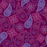 Nahtloses violettes geometrisches Muster mit Paisley und Blumen Weihnachtsmann in einer Schutzkappe, in den Kopfhörern, mit einem Lizenzfreie Stockfotografie