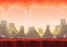 Nahtloses Volcano Planet Landscape For Ui-Spiel Stockfoto