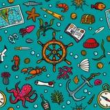 Nahtloses von Hand gezeichnetes Muster Blaues Meer nahtlos Seeeinwohner, Anlagen und Bordausrüstung auf einem hellen blauen Hinte Stockfotografie