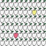 Nahtloses von Hand gezeichnetes Muster mit Apfel Vektor Stockfotografie