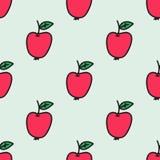 Nahtloses von Hand gezeichnetes Muster mit Apfel Vektor Stockbilder