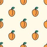 Nahtloses von Hand gezeichnetes Muster mit Aprikose Vektor Lizenzfreie Stockfotografie