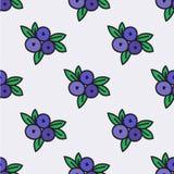 Nahtloses von Hand gezeichnetes Muster mit Blaubeere Vektor Stockfoto