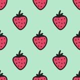 Nahtloses von Hand gezeichnetes Muster mit Erdbeere Stockfoto