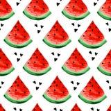 Nahtloses Wassermelonenmuster Scheiben der Wassermelone, Beerenhintergrund Gemalte Frucht, grafische Kunst, Karikatur stock abbildung