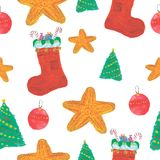 Nahtloses Weihnachtsaquarellmuster Lizenzfreie Stockfotos