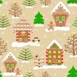 Nahtloses Weihnachtsmuster, endloser Hintergrund der Weihnachtsstadt Lizenzfreie Stockfotos