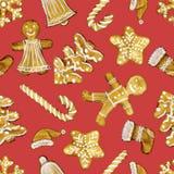 Nahtloses Weihnachtsmuster mit Nahrungsmittelelementen Vervollkommnen Sie für Hintergründe, Beschaffenheiten, Packpapier, Muster, lizenzfreies stockfoto