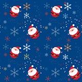 Nahtloses Weihnachtsmuster mit Sankt und Schneeflocken Lizenzfreie Stockfotos