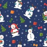 Nahtloses Weihnachtsmuster mit Schneemann, Geschenken und Schneefällen lizenzfreie abbildung
