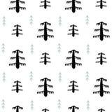 Nahtloses Weihnachtsschwarzweiss-muster - mannigfaltige Weihnachtsbäume, -sterne und -schneeflocken Hintergrund des glücklichen n lizenzfreie abbildung
