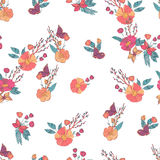 Nahtloses Weinlese Wildflowers-mit Blumenmuster Lizenzfreies Stockfoto