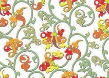 Nahtloses Weinlesemuster in den grünen, orange und roten Farben Lizenzfreies Stockfoto