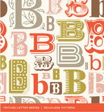 Nahtloses Weinlesemuster des Buchstaben B in den Retro- Farben Stockfotografie