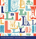 Nahtloses Weinlesemuster des Buchstaben L in den Retro- Farben Stockfotografie