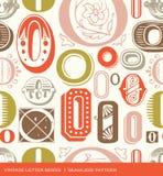 Nahtloses Weinlesemuster des Buchstaben O in den Retro- Farben Stockfotos