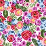 Nahtloses Weinlesemuster mit gemalter Blume Stockbilder