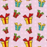Nahtloses wiederholendes Muster mit Geschenkkästen Lizenzfreie Stockbilder
