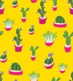 Nahtloses wiederholendes Muster mit Kaktus auf gelbem Hintergrund Gut für Papier, Plakat, Gewebe, Grußkartendesign Stockbild