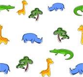 Nahtloses Wiederholungsmuster der wilden Tiere der Safari Stockfoto