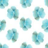 Nahtloses wildes Blumenmuster mit Kapuzinerkäse Blaue Hibiscusblumen auf weißem Hintergrund botanische Motive zerstreuten gelegen lizenzfreie stockfotos