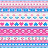 Nahtloses Winter-Strickjackenmuster mit Herzen und Eulen. Rosa-blau Stockbilder