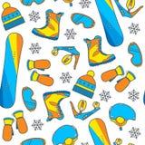 Nahtloses Wintermuster mit Snowboardausrüstung in einem vibrierenden, y Lizenzfreie Stockfotografie