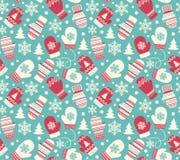 Nahtloses Winterurlaub-Muster mit Handschuh-Handschuhen Stockbild