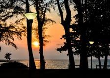 Nai杨海滩风景在日落期间的 库存照片