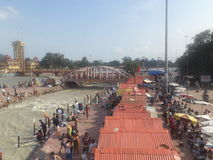 Nai Ghat, Haridwar. Nai Ghat near the sacred river Ganges in Haridwar, Uttarakhand, India. People come here for the purpose of performing Mundan Ceremony Royalty Free Stock Photography