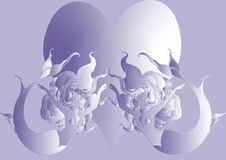 Naiad and big heart on violet background. Two naiads and big heart on violet background -  illustration Stock Photography