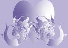 Naiad e coração grande no fundo violeta ilustração stock