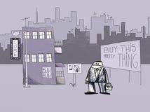 Naif que dibuja la forma de vida moderna, concepto de la tensión del anuncio Fotos de archivo
