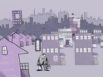 Naif que dibuja la forma de vida moderna, concepto de la tensión del anuncio Imagen de archivo