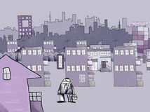 Naif Style Drawing of a City. Naif Style Drawing of Urban Lifestyle, Signs and Advertisement, Stress and Alienation Concept Stock Images