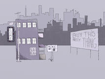 Naif Style Drawing of a City. Naif Style Drawing of Urban Signs and Advertisement Concept Royalty Free Stock Photography