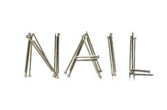 Nail alphabet on white background. A photo of nail alphabet on white background royalty free stock photo