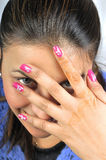 Nail art. Female hands with beautiful nail art Royalty Free Stock Images