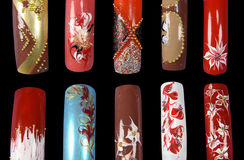 Nail art. Ten nails isolated on black Stock Image