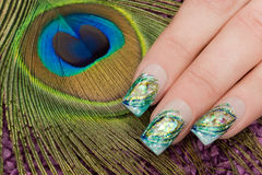 Nail art. Nice hand with nail art Stock Photography