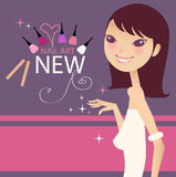 Nail art. A pretty girl promoting nail art royalty free illustration